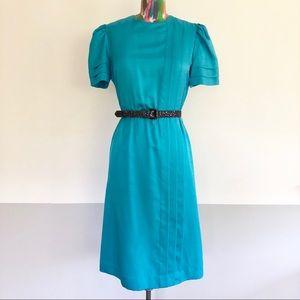 🐬VINTAGE 80s Pleated Secretary Midi Dress